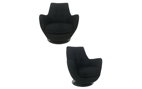 Pair of Rock and Swivel Lounge Chairs by Milo Baughman for Thayer Coggin