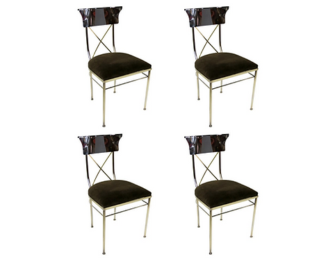 Set of Four Polished Nickel & Brass Regency Style Dining Chairs