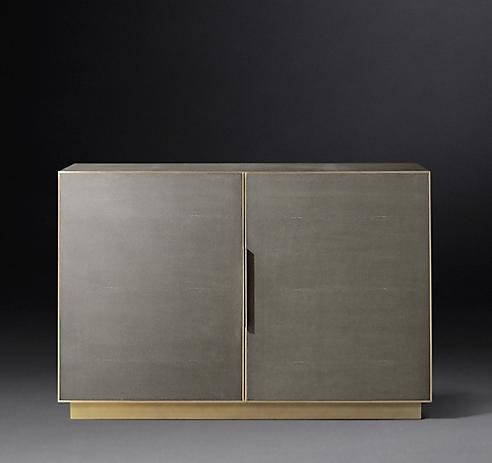 Restoration Hardware Cela Double Door Shagreen Cabinet