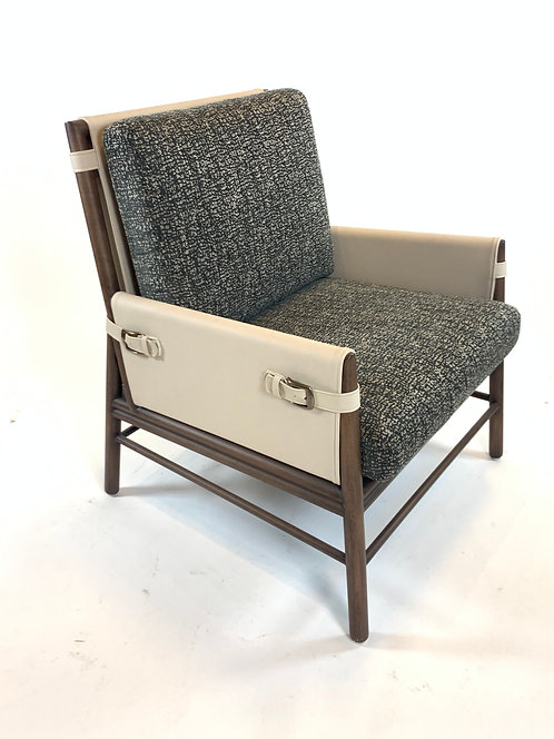 Contemporary Ivory Leather and wood Lounge chair with buckles