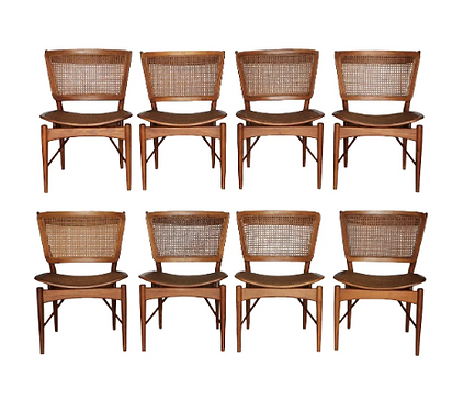 1950s Vintage Finn Juhl for Baker Teak Dining Chairs - Set of 8