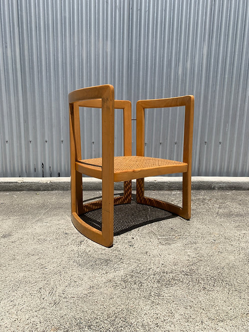 Italian Lounge Chair with Caned Seat and Bent Wood Frame
