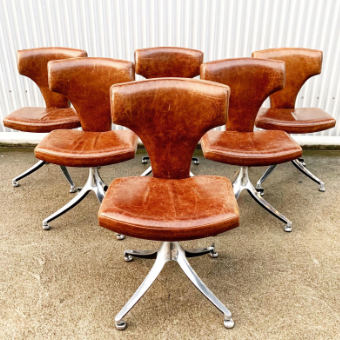 Vintage Leather Dining Chairs on Pedestal- Set of 6