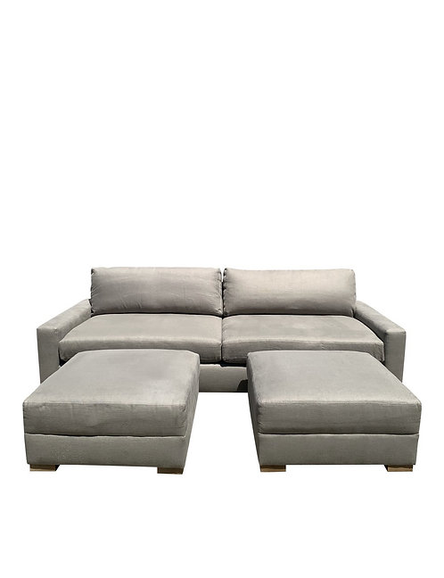Restoration Hardware Maxwell Luxe Sofa and Two Ottomans (Set)