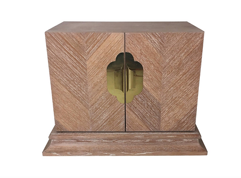 Cerused Oak Marquetry Nightstand by Ello