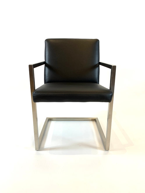 Set of 8 Room and Board Lira Urbino Black Leather Dining Chairs