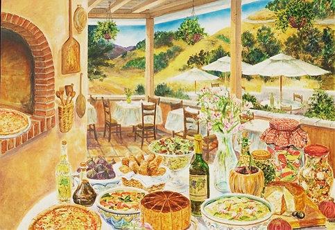 Huge Italian/Napa Style Bistro Painting