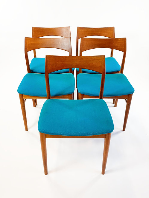 Danish Modern Teak Dining Chairs, a set of 5
