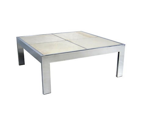 Large Scale Chrome Coffee Table with Inset Marble Top