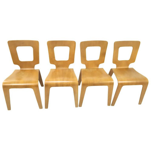 Four Thaden Jordan Bent Plywood Dining Chairs