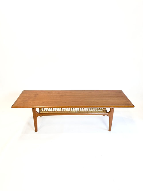 Danish Modern Cocktail Table with Caned Shelf
