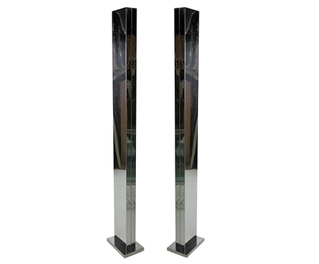 Pair of Chrome Torchieres by Casella (Priced each)