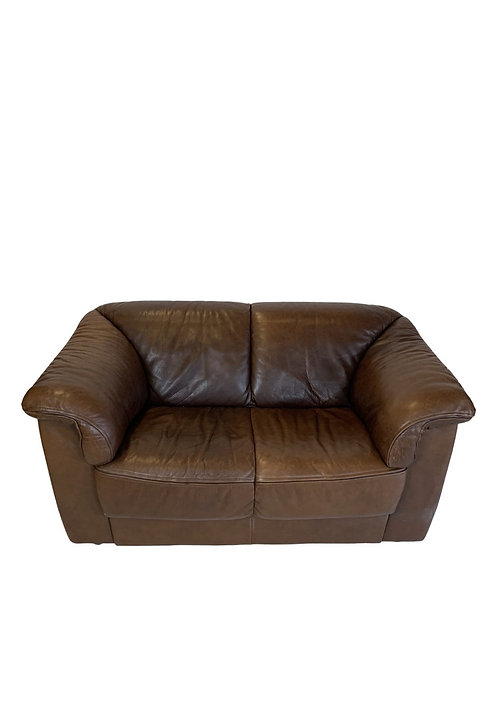 Soft Brown Italian Leather Loveseat in the style of the DeSede DS45