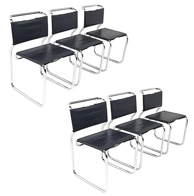 """Set of Six Cantilever Nicos Zographos """"66"""" Chairs"""