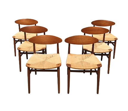 Paper Cord and Teak Danish Chairs | Niels Moller - Set of 6