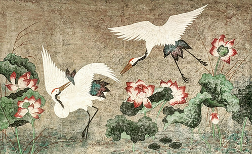 Huge 4 x 8 Panel Painting on paper. Chinese Cranes
