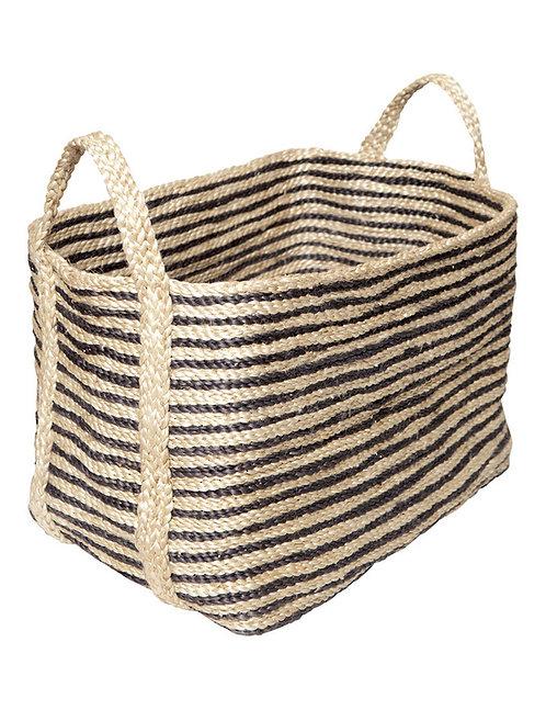 Large Jute Basket – Charcoal Stripe