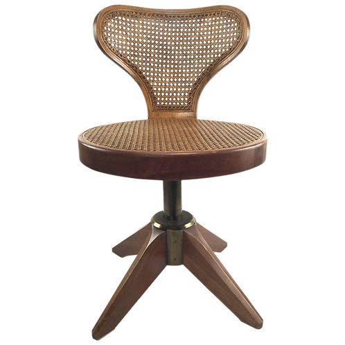 Mid-Century Modern Caned Swivel Chair on Splayed Legs