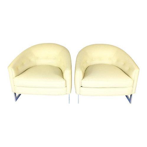 Milo Baughman Cream Leather Lounge Chairs