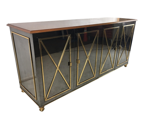 Gunmetal and Brass Sideboard in the Style of Maison Jansen