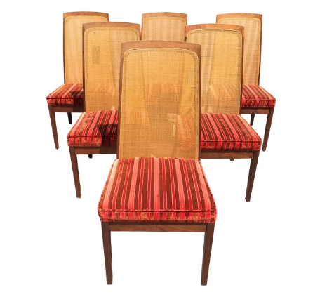 Set of 6 Walnut / Cane Dining Chairs by Milo Baughman for Glenn