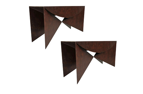 "Custom Pair of Patinated Steel ""Origami"" Consoles"