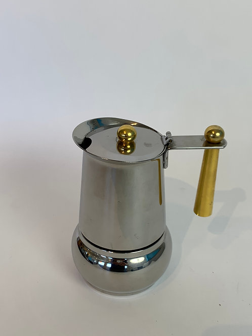 Stainless Steel and Brass Espresso Maker Made in Italy