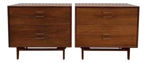 1950s Mid-Century Modern Jens Risom Walnut Bachelor Chests - a Pair