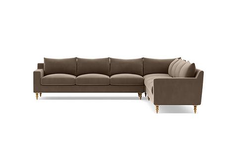 Interior Define Sloan 6 Seat Corner Sectional, Turned Oak Legs