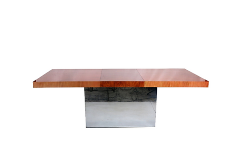 Milo Baughman Dining Table with Chevron Marquetry Top