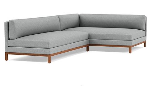Interior Define Jasper Sectional, Dove Grey/Walnut. As-New