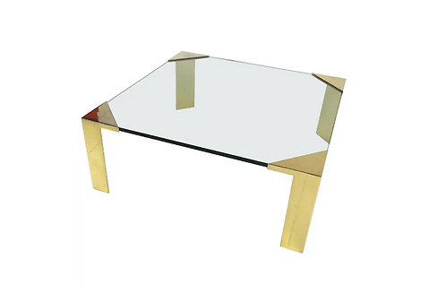 Large Brass Cornered Cocktail Table