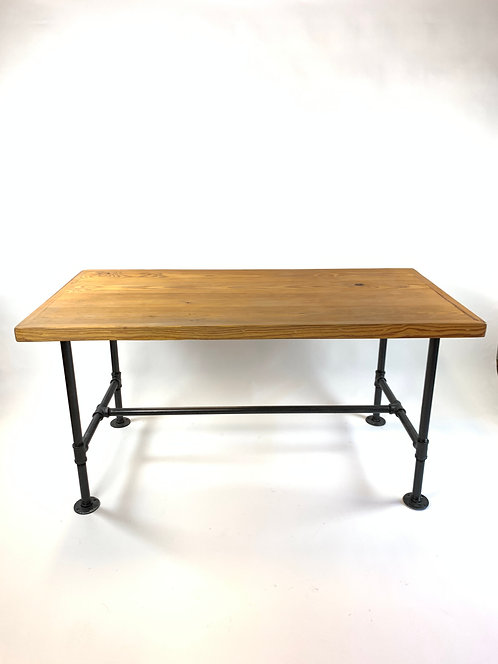 Handmade Rustic Industrial Desk with Pipe Iron Base, Five Avail!