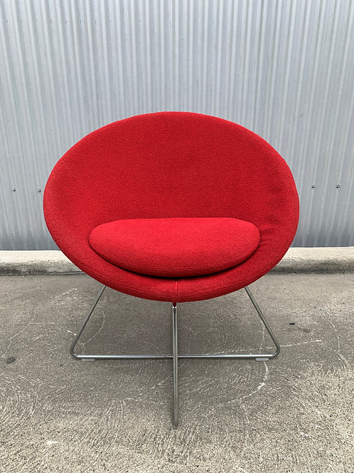 Swedese for Allermuir Lounge Chair in red wool boucle
