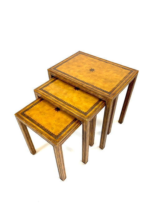Leather Nesting Tables by Maitland Smith
