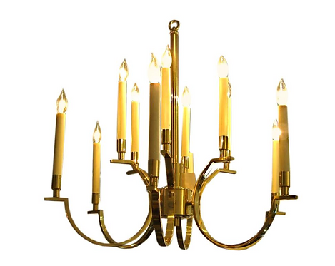 NeoClassical Moderne Brass Chandelier