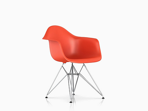 Pair of Orange Eames Plastic Armshell Eiffel Chairs for Herman Miller
