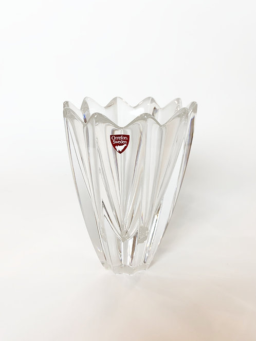 "Swedish Orrefors 7"" Leaf Form Lead Glass Vase ca 1970's"