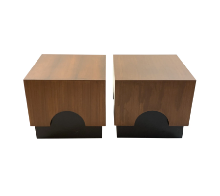 Fun Japanese style walnut and black cube side tables.
