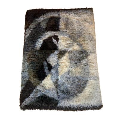 1960s Vintage Ritva Puotila Wool Art Rya Rug - 4′3″ × 6′