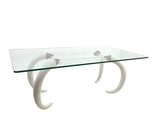 Versailles Collection Resin Elephant Tusk and Lucite Table