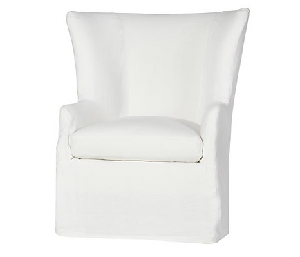 Cisco Brothers Slipcover White Linen Wing Chair, as new condition