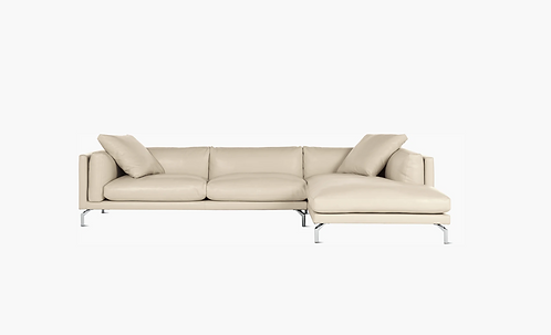 """DWR Como Sectional in Gesso Leather, 128"""" RAF"""
