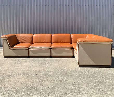 Leather and Linen Sectiona, French ca 1980