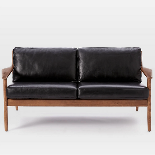 Pair of West Elm Leather Mathais Loveseats