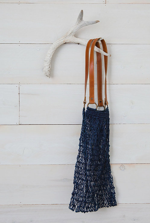 Jute String Bag – Indigo with Brown Leather Handle