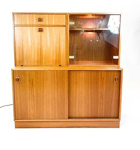Danish Modern Teak Bar/Secretary Cabinet with lighted display/bookshelf