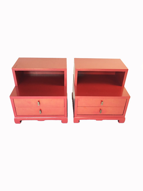 Red Lacquer Night Stands – Pair