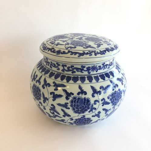Blue and White Lidded Pot