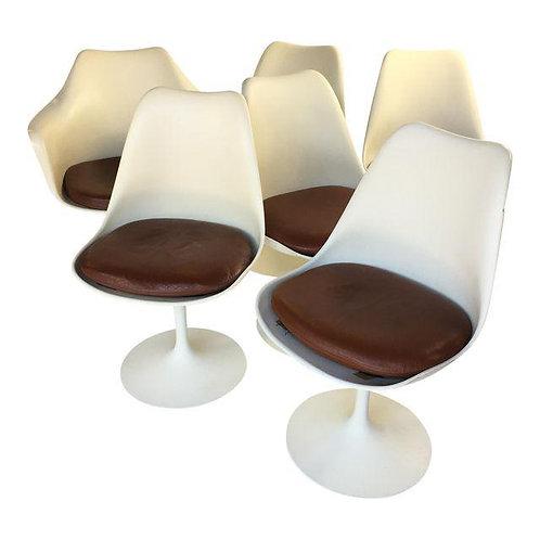 Set of 6 Eero Saarinen Tulip Chairs Leather
